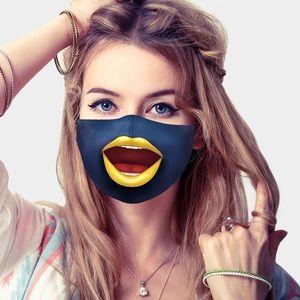 Accessories - Navy Cartoon Lip Print Cotton Fashion Mask